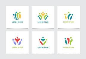 coleção de logotipo de pessoas do espaço negativo vetor