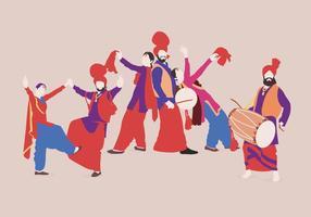 Brilhante Bhangra coloridos vetores dançarino