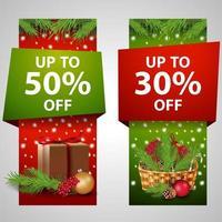 conjunto de venda vertical de natal, banners de desconto vetor