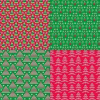 padrões de natal verdes e vermelhos vetor