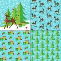 padrões de cervos, presentes e árvores de natal vetor