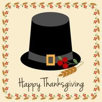 feliz dia de graças com chapéu de peregrino