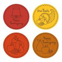 Emblemas de círculo de desenho de linha de ação de graças