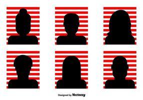 Listrado vermelho Headshot ícones do vetor