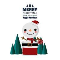 boneco de neve bonito dos desenhos animados na caixa de presente vetor
