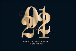feliz ano novo 2021 cartão dourado vetor