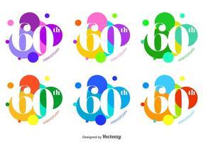 60th Vector Badges e luminosos bolha