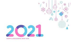cartão de feliz ano novo 2021 vetor