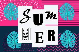 fundo de verão estilo memphis pop art vetor