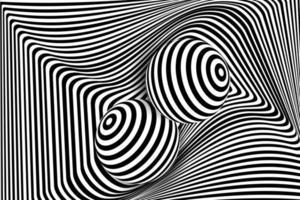 distorção de linha 3d em preto e branco, ilusão de bola vetor