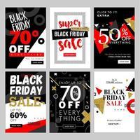 banners de venda de mídia social black friday