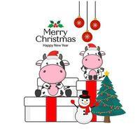 cartão de feliz natal com vacas fofas