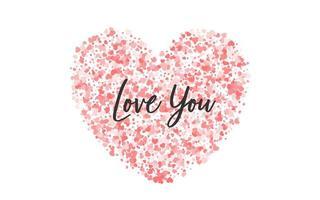 confettis de papel rosa do dia dos namorados