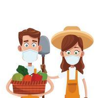 casal de fazendeiros com cesta de frutas vetor