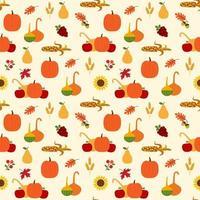 padrão de outono com abóboras, cabaças, folhagem vetor
