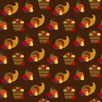 perfeita cornucópia de ação de graças e padrão de frutas vetor