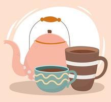 composição da hora do café com chaleira e xícara vetor