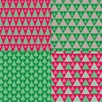 padrões estilizados de árvores de natal verdes e vermelhas vetor