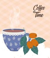 banner hora do café com frutas do café vetor