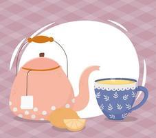composição da hora do chá com chaleira e xícara