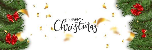 pinheiro e bordas de arco com texto de feliz natal vetor