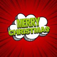 desenho de texto de feliz natal em quadrinhos pop art vetor
