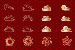 Conjunto de nuvens vermelhas e douradas asiáticas e flores geométricas