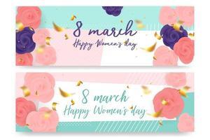 Conjunto de rosas do dia da mulher em forma geométrica