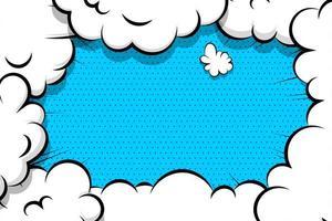 quadrinhos nuvem puff frame no padrão de pontos azuis vetor