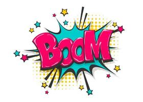 boom pop art design de texto de quadrinhos vetor