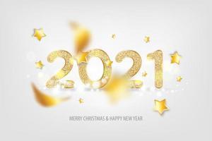 Texto de ano novo brilhante de 2021 com confete e estrelas