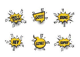 texto em quadrinhos amarelo balão de fala conjunto de arte pop vetor