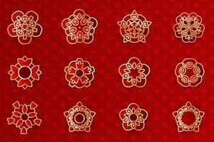 Conjunto de emblema de flor geométrica vermelha e dourada asiática