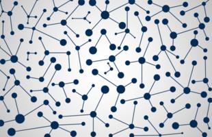 padrão de moléculas de cor azul vetor