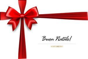 laço de seda vermelho feriado com feliz natal em italiano vetor