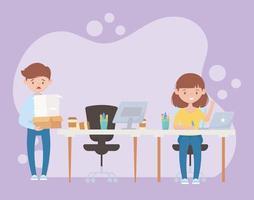 espaço de trabalho com funcionários ocupados vetor