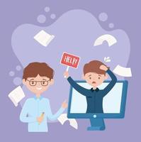 Funcionário estressado procurando ajuda online vetor