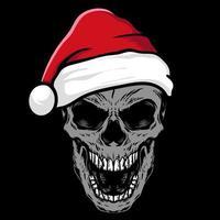 caveira desenhada à mão com chapéu de Papai Noel vetor