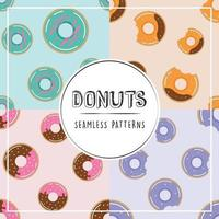 donuts seamless pattern set vetor