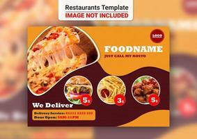cartão de entrega de design de menu de restaurante vetor