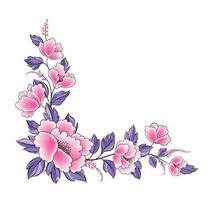 borda decorativa guirlanda de flores rosa e roxa vetor