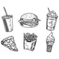 Conjunto de fast food desenhado à mão vetor