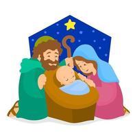 cena de natal com jesus na manjedoura vetor