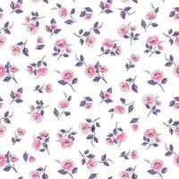 padrão floral rosa e roxo sem costura vetor