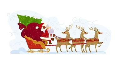 Papai Noel em seu trenó cheio de presentes
