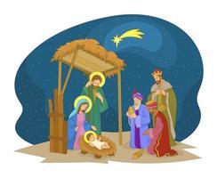 cena da manjedoura com o nascimento de jesus vetor