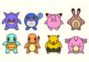 Jogo do ícone Personagens de Pokémon vetor