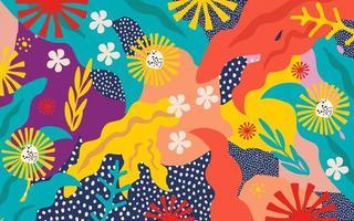 fundo de pôster de folhas e flores coloridas