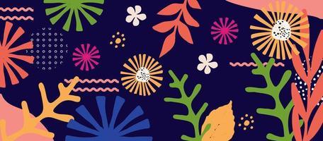 fundo de pôster de folhas e flores coloridas vetor