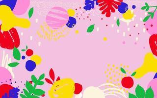 fundo de pôster de folhas e flores rosa